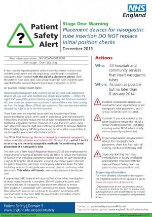 NPSA Alert 2013